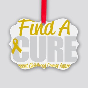 Childhood-Cancer-Find-A-Cure-blk Picture Ornament