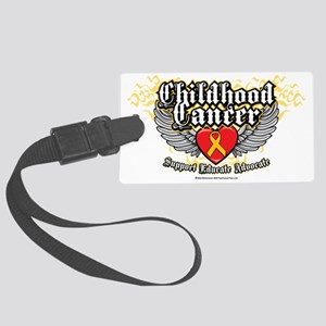Childhood-Cancer-Wings Large Luggage Tag