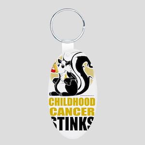 Childhood-Cancer-Stinks Aluminum Oval Keychain