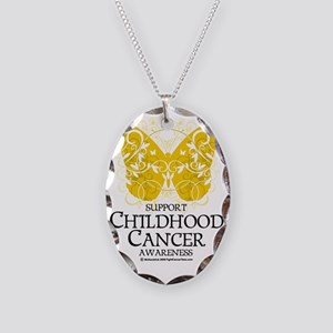 Childhood-Cancer-Butterfly Necklace Oval Charm