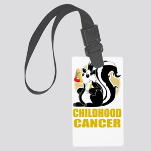 Childhood-Cancer-Stinks-blk Large Luggage Tag