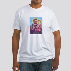 St. Joseph with Jesus Fitted T-Shirt