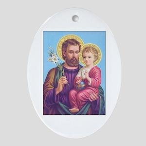 St. Joseph with Jesus Oval Ornament