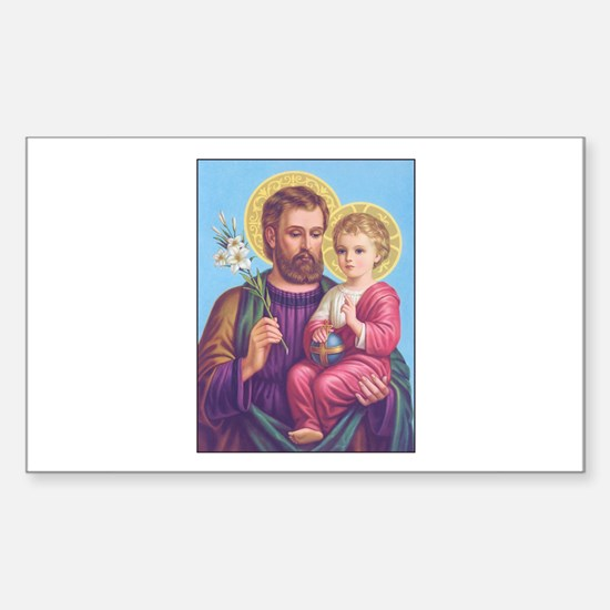 St. Joseph with Jesus Rectangle Decal