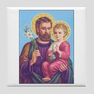 St. Joseph with Jesus Tile Coaster