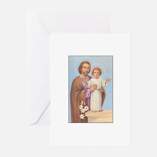 Saint Joseph - Baby Jesus Greeting Cards (Package