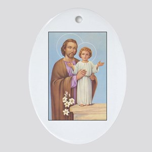 Saint Joseph - Baby Jesus Oval Ornament