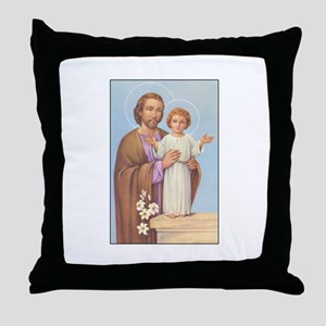 Saint Joseph - Baby Jesus Throw Pillow