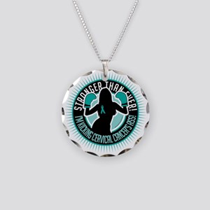 Cervical-Cancer-Boxing-Girl Necklace Circle Charm