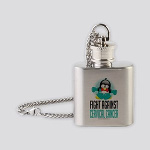 Cervical-Cancer-Boxing-Penguin Flask Necklace