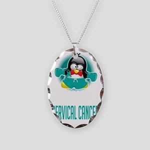 Cervical-Cancer-Boxing-Penguin Necklace Oval Charm