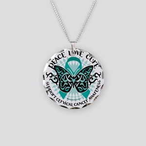 Cervical-Cancer-Butterfly-Tr Necklace Circle Charm