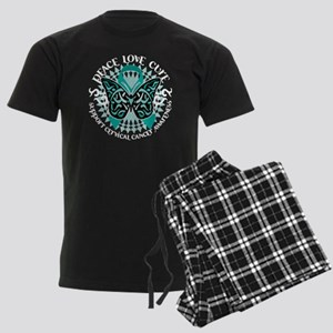 Cervical-Cancer-Butterfly-Trib Men's Dark Pajamas