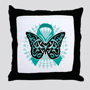 Cervical-Cancer-Butterfly-Tribal-2-bl Throw Pillow