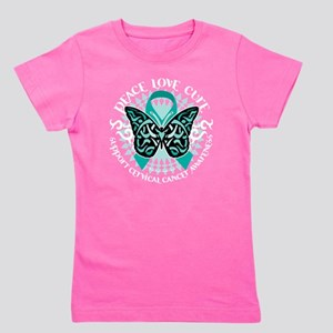 Cervical-Cancer-Butterfly-Tribal-2-blk Girl's Tee