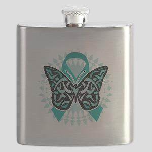 Cervical-Cancer-Butterfly-Tribal-2-blk Flask