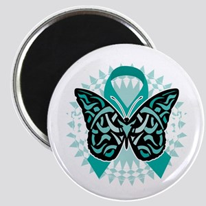Cervical-Cancer-Butterfly-Tribal-2-blk Magnet