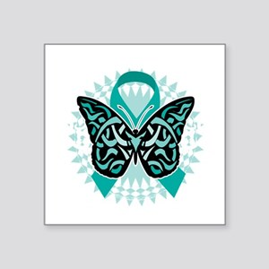 "Cervical-Cancer-Butterfly-T Square Sticker 3"" x 3"""