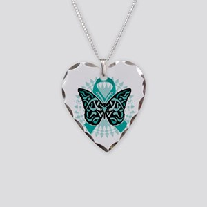 Cervical-Cancer-Butterfly-Tri Necklace Heart Charm