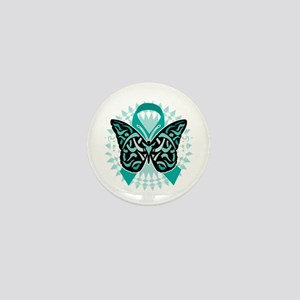Cervical-Cancer-Butterfly-Tribal-2-blk Mini Button