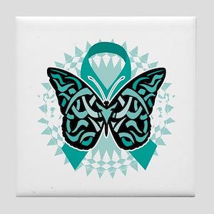 Cervical-Cancer-Butterfly-Tribal-2-bl Tile Coaster