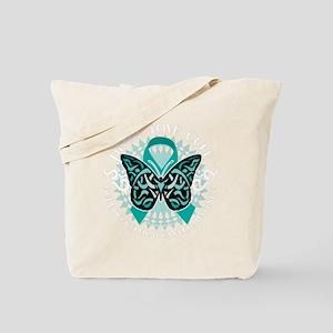 Cervical-Cancer-Butterfly-Tribal-2-blk Tote Bag