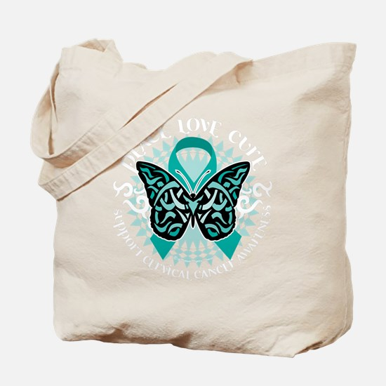 Cervical-Cancer-Butterfly-Tribal-2-blk Tote Bag