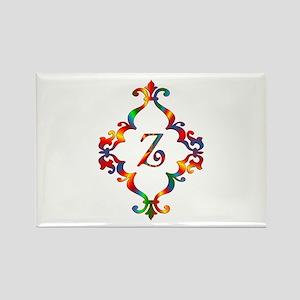 Colorful Letter Z Monogram Initia Rectangle Magnet