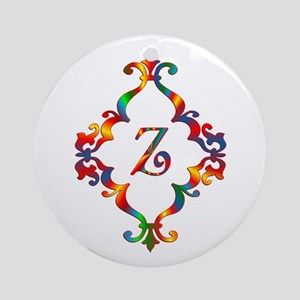 Colorful Letter Z Monogram Initial Round Ornament