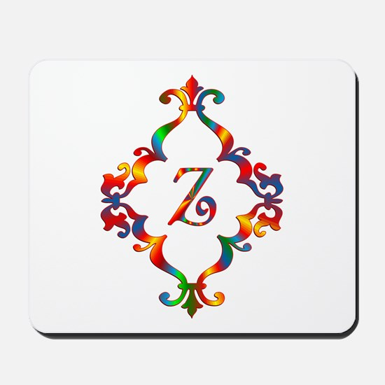 Colorful Letter Z Monogram Initial Mousepad
