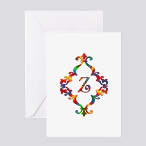 Colorful Letter Z Monogram Initial Greeting Card