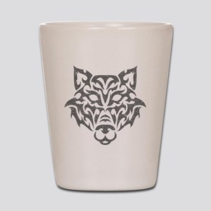 wolf-tribal-gray Shot Glass