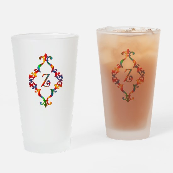 Colorful Letter Z Monogram Initial Drinking Glass