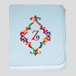Colorful Letter Z Monogram Initial baby blanket