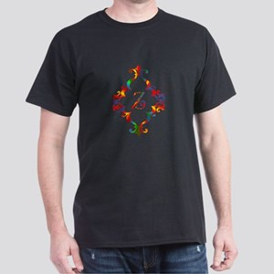 Colorful Letter Z Monogram Initial Dark T-Shirt