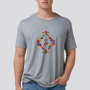 Colorful Letter Z Monogram Mens Tri-blend T-Shirt