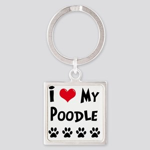 I-Love-My-Poodle Square Keychain