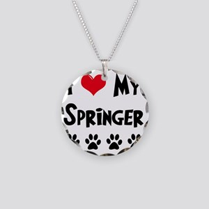 I-Love-My-Springer Necklace Circle Charm