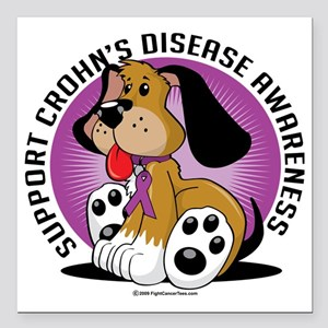 "Crohns-Disease-Dog Square Car Magnet 3"" x 3"""