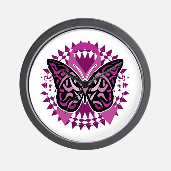 Crohns-Disease-Butterfly-Tribal-blk Wall Clock