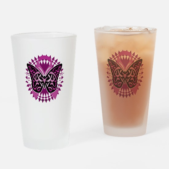 Crohns-Disease-Butterfly-Tribal-blk Drinking Glass