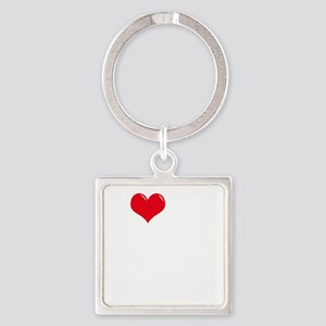 I-Love-My-Doodle-dark Square Keychain