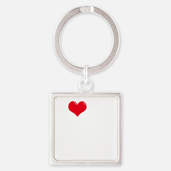 I-Love-My-Doodle-dark Square Keychain