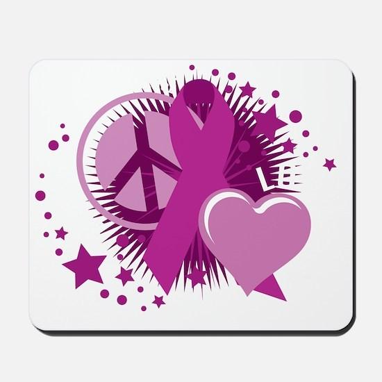 Crohns-Peace-Love-Cure-blk Mousepad