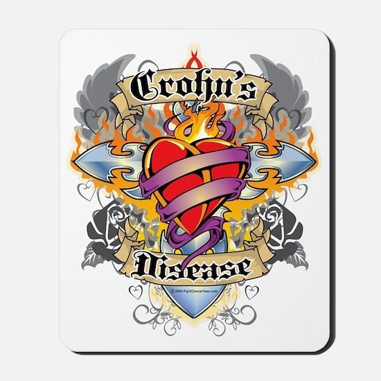 Crohns-Disease-Cross--Heart-blk Mousepad