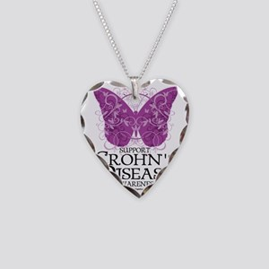 Crohns-Disease-Butterfly Necklace Heart Charm