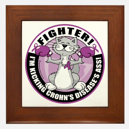 Crohns-Disease-Cat-Fighter Framed Tile