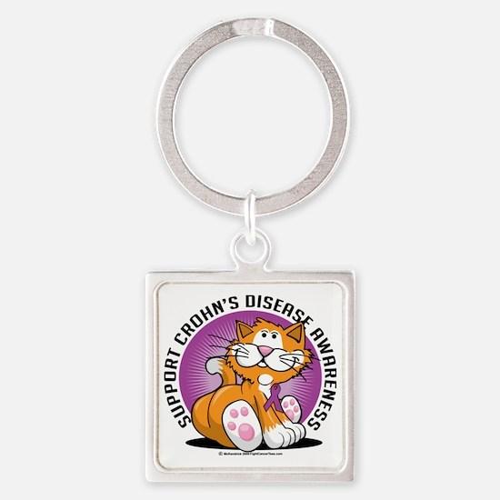Crohns-Disease-Cat Square Keychain