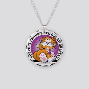 Crohns-Disease-Cat Necklace Circle Charm
