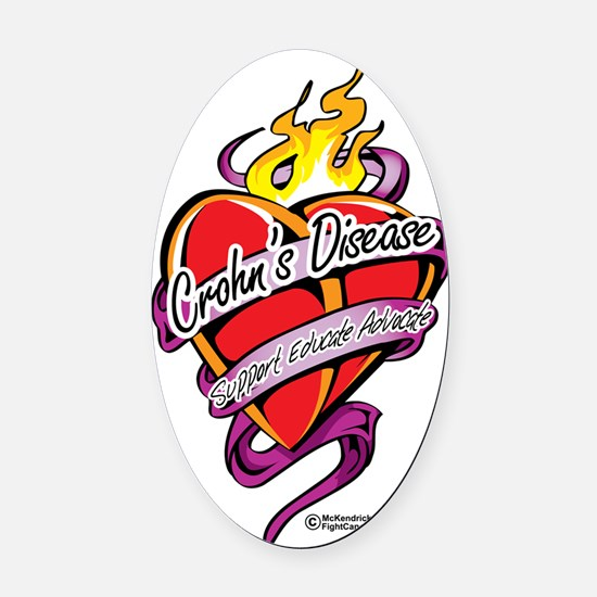 Crohns-Disease-Tattoo-Heart Oval Car Magnet